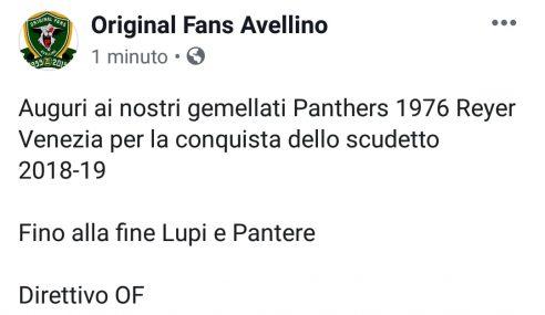 Reyer Venezia Campione d'Italia: gli auguri degli OF Avellino