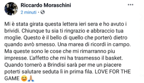Happy Casa Brindisi: Lettera di una Tifosa a Riccardo Moraschini