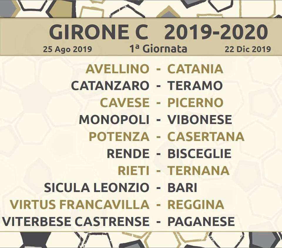 Calendario Lega Pro Girone C.Calendario Completo Serie C Girone C 2019 20 Pdf Da
