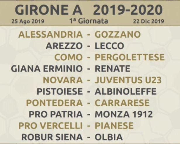 Calendario Lega Pro Girone B Orari.Calendario Completo Serie C Girone A 2019 20 Pdf Da